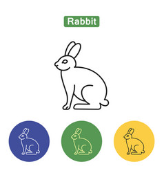 rabbit line icon vector image