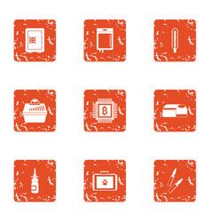regularize icons set grunge style vector image