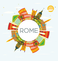 Rome skyline with color buildings blue sky vector