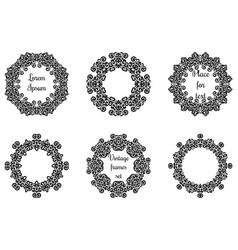 round geometric ornaments set intricate lacy vector image