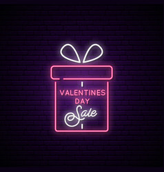 sale neon signboard the gift box and text vector image
