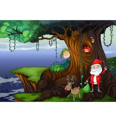 santa claus and a reindeer vector image vector image