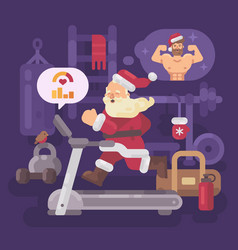 santa claus exercising and getting into shape for vector image