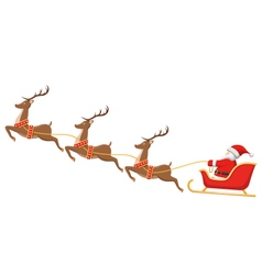 Santa on Sleigh and His Reindeers Isolated on vector