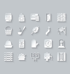 sauna equipment simple paper cut icons set vector image