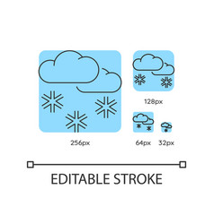 scattered snow turquoise linear icons set vector image