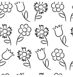 Seamless pattern from flowers vector