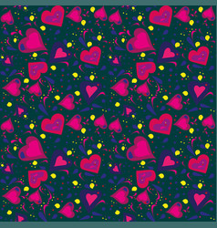 seamless pattern hand drawn with different hearts vector image