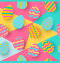 seamless pattern of easter egg paper cut style vector image