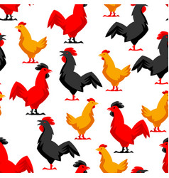 seamless pattern with variety chickens vector image