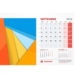 September 2016 Desk Calendar for 2016 Year vector
