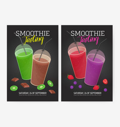set of flyer or poster templates for smoothie vector image