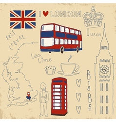 Set of London symbols on vintage vector