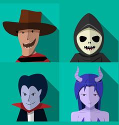 set of people in halloween costume portrait vector image