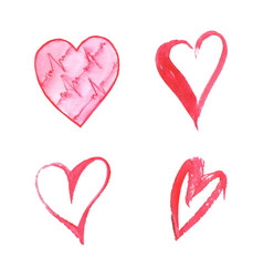Set of watercolor hearts on white background vector