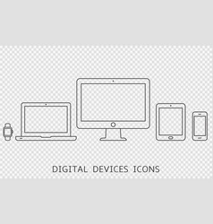 set outline device icons vector image
