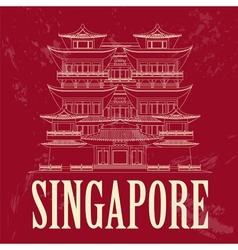 Singapore landmarks Retro styled image vector