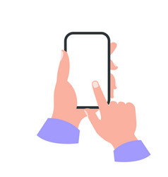 Smartphone in hand white screen concept vector