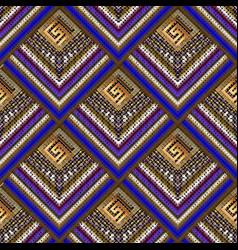 Striped halftone 3d greek key seamless pattern vector
