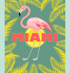 T-shirt print with miami lettering palm leaves vector
