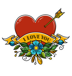 Tattoo heart pierced with arrow decorated flowers vector