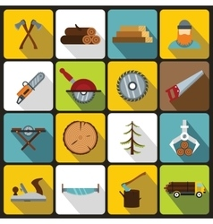 Timber industry icons set flat style vector