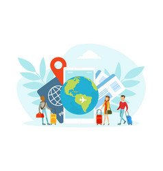 Tourists characters traveling over world tiny vector