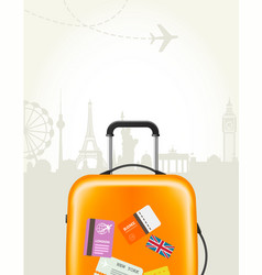 Travel agency poster with plastic suitcase vector