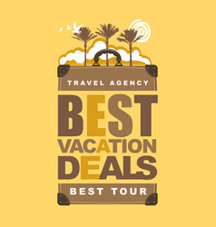 travel banner with suitcase palms and sun vector image