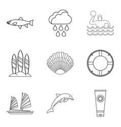Tropical shore icons set outline style vector