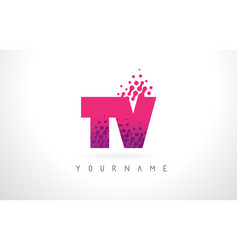 Tv t v letter logo with pink purple color and vector
