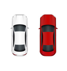 Two cars white and red isolated on white vector