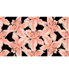 vintage seamless floral pattern beautiful lily vector image
