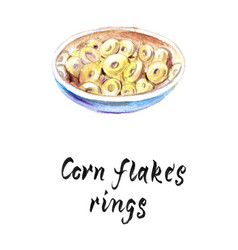 Watercolor of corn flakes rings vector