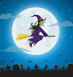 Witch flying on a magic broomstick vector