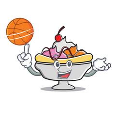 With basketball banana split character cartoon vector