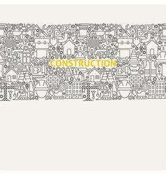 Construction line art seamless web banner vector