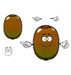 Fuzzy kiwi fruit cartoon character vector image