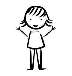 happy girl drawn isolated icon design vector image vector image