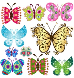 Set fantasy colorful vintage butterflies vector image vector image