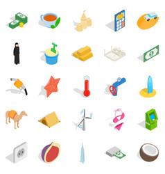 uae icons set isometric style vector image