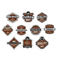 Collection of different Premium and Quality labels vector image vector image