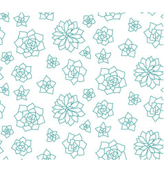line art succulent plant seamless pattern on vector image vector image