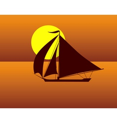 silhouette of a sea turtle boat against the evenin vector image