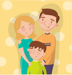 young happy couple posing with their son best vector image vector image