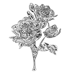 Zentangle Rose flower floral pattern vector image vector image
