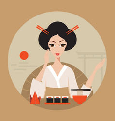 Beautiful japan travel banner with geisha sushi vector