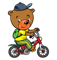 little funny bear on bicycle vector image vector image