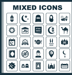 religion icons set collection of prayer carpet vector image