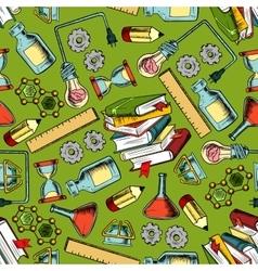 School supplies seamless pattern background vector image